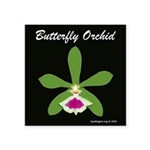 "Butterfly Orchid Square Sticker 3"" X 3"""