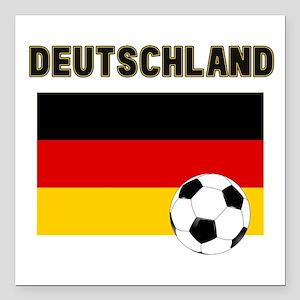 "Deutschland Fussball Square Car Magnet 3"" x 3"""