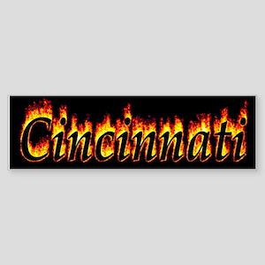 Cincinnati Flame Bumper Sticker