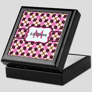 Pink Black and Gold Pattern Monogram Keepsake Box