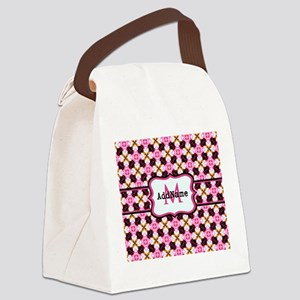 Pink Black and Gold Pattern Monog Canvas Lunch Bag