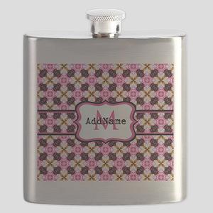 Pink Black and Gold Pattern Monogram Flask