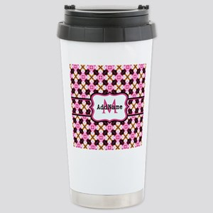 Pink Black and Gold Pat Stainless Steel Travel Mug