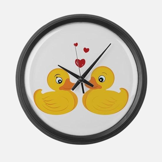 Love Ducks Large Wall Clock