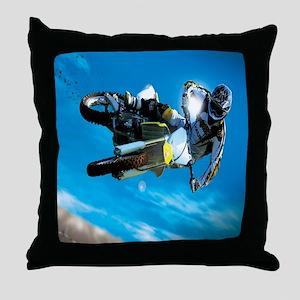 Motocross Side Trick Throw Pillow