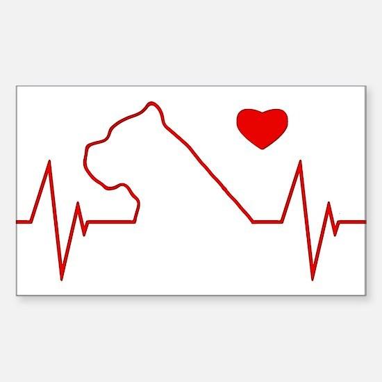 Cane Corso Heartbeat Sticker (Rectangle)