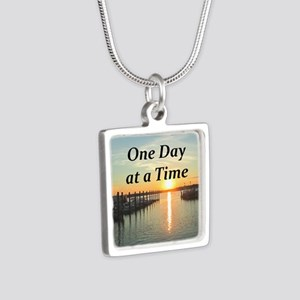 ONE DAY AT A TIME Silver Square Necklace