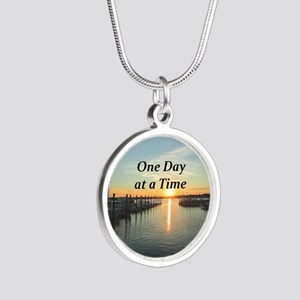 ONE DAY AT A TIME Silver Round Necklace
