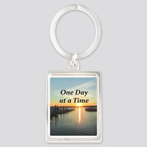 ONE DAY AT A TIME Portrait Keychain