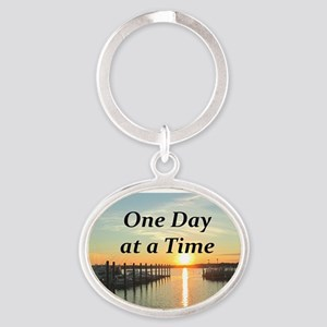 ONE DAY AT A TIME Oval Keychain