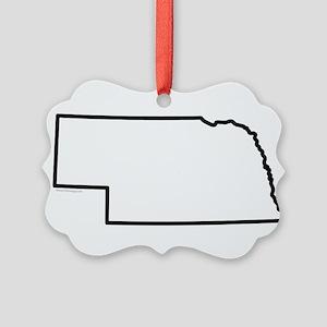 Nebraska State Outline Picture Ornament