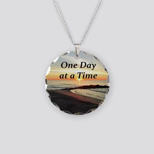 ONE DAY AT A TIME Necklace Circle Charm