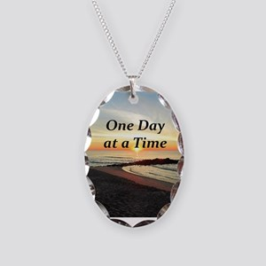ONE DAY AT A TIME Necklace Oval Charm