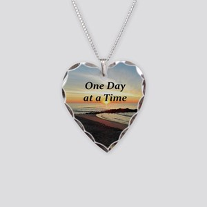 ONE DAY AT A TIME Necklace Heart Charm