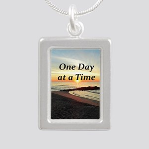 ONE DAY AT A TIME Silver Portrait Necklace