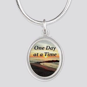 ONE DAY AT A TIME Silver Oval Necklace