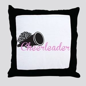 Cheerleader with megaphone Throw Pillow