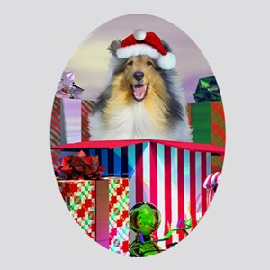 Collie Claus Oval Ornament