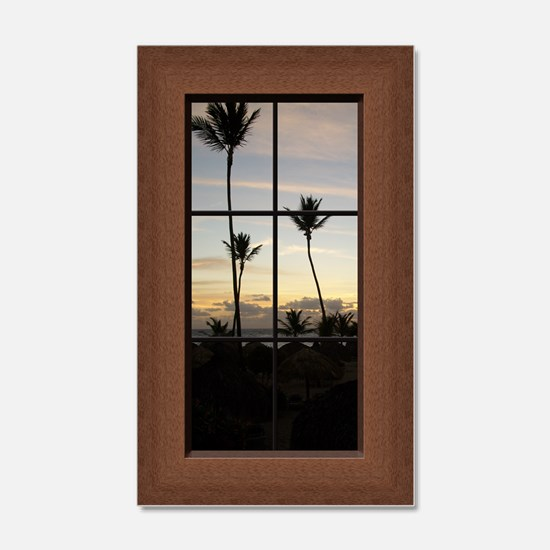 Faux Window View Palm Trees Wall Decal