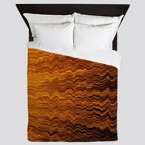 Colorful Abstract light wave lines Queen Duvet