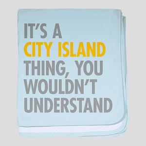 City Island Bronx NY Thing baby blanket