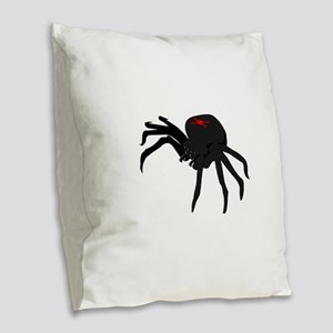 Black Widow Spider Burlap Throw Pillow