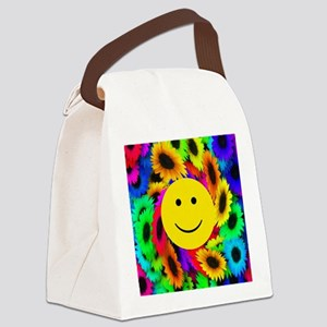 Cool Flowers Smiley Face Canvas Lunch Bag