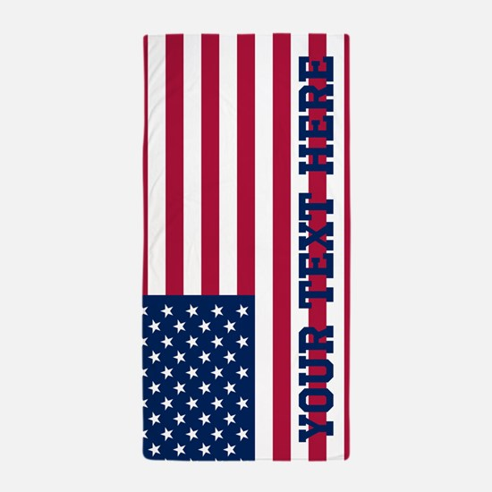 Personalized American Flag Beach Towel