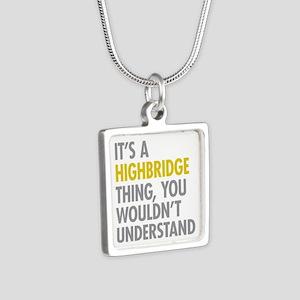 Highbridge Bronx NY Thing Silver Square Necklace