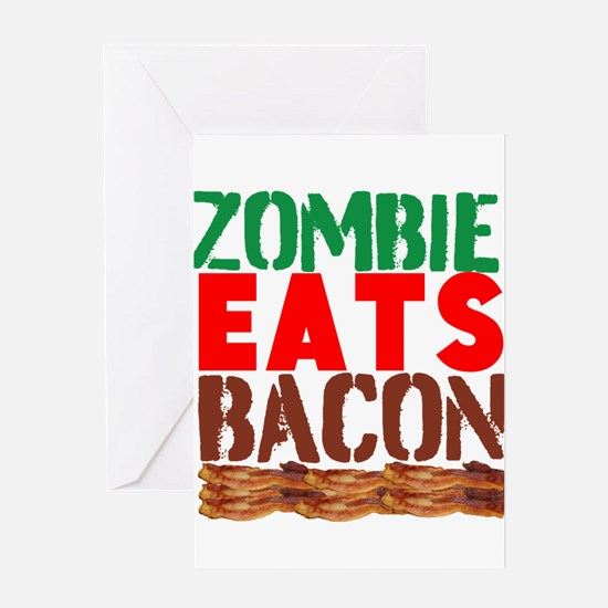 Zombie Eats Bacon Greeting Cards