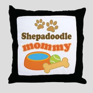 Shepadoodle mom Throw Pillow