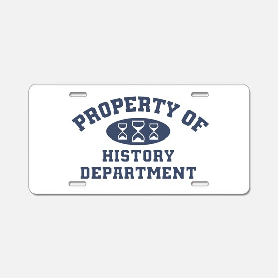 Property Of History Department Aluminum License Pl