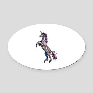 Wild Unicorn Oval Car Magnet