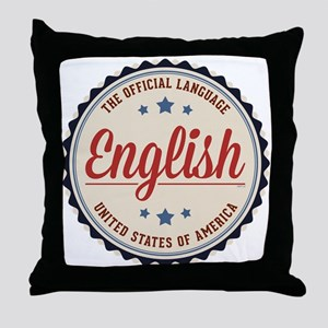 USA Official Language Throw Pillow