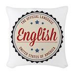 USA Official Language Woven Throw Pillow