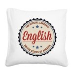 USA Official Language Square Canvas Pillow