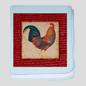 Red Rooster vintage baby blanket