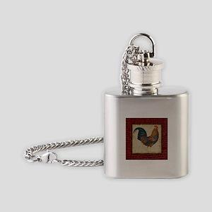 Red Rooster vintage Flask Necklace
