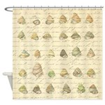 Vintage Seashell French Script Shower Curtain