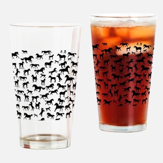 Mini Horses Drinking Glass