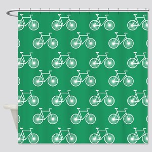 White Bicycle Cycling Pattern Kelly Green Shower