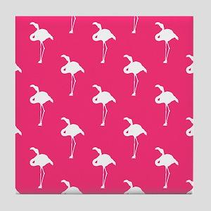 White Flamingo on Neon Hot Pink Tile Coaster