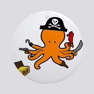 Octopus Pirate Ornament (Round)