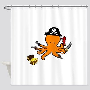 Octopus Pirate Shower Curtain