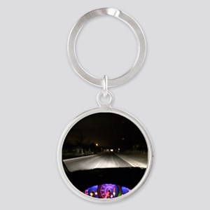 Night Drive Round Keychain