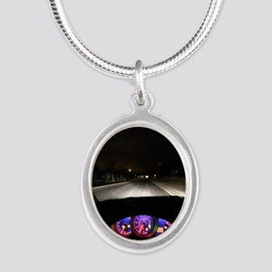 Night Drive Silver Oval Necklace