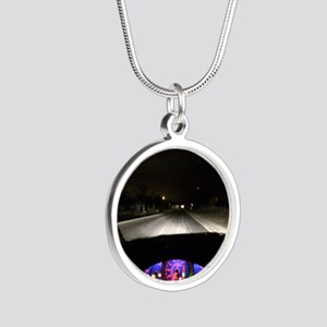 Night Drive Silver Round Necklace