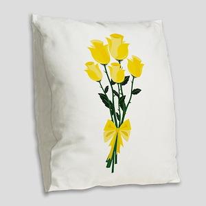 Yellow Roses Burlap Throw Pillow