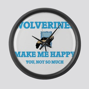 Wolverines Make Me Happy Large Wall Clock