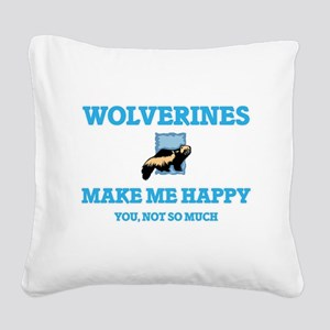 Wolverines Make Me Happy Square Canvas Pillow